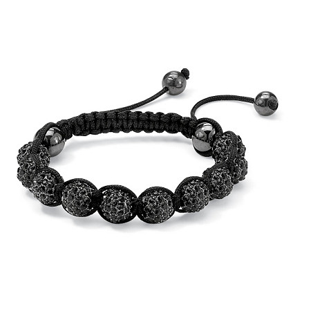 Round Black Crystal Glass Ball Black Macrame Rope Tranquility Bracelet Adjustable 8 to 10