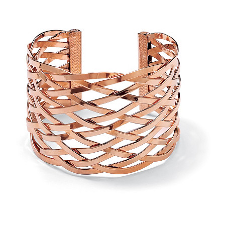 Lattice Cuff Bracelet Rose Gold Plated 7 1/2