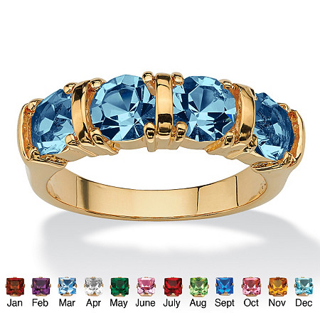 Round Simulated Birthstone 18k Yellow Gold-Plated Channel Ring