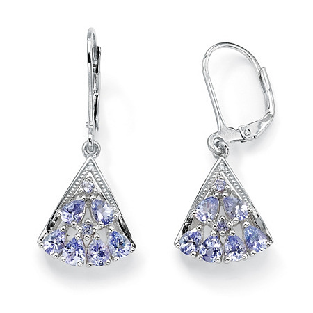 1.29 TCW Pear Cut Genuine Tanzanite Diamond Accent Platinum over Sterling Silver Fan-Shaped Earrings