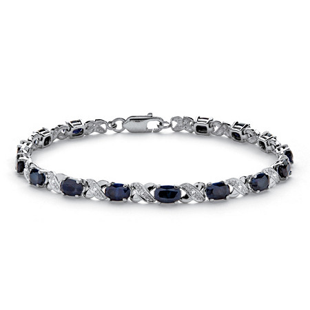 8.43 TCW Genuine Midnight Blue Sapphire Platinum over Sterling Silver X & O Bracelet