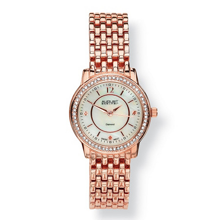Diamond Accent and Mother-of-Pearl Rose Gold-Plated Panther-Link Watch Adjustable 7 1/2 to 8 1/2