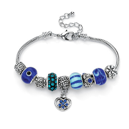 Blue Crystal Silvertone Bali-Style Beaded Charm and Spacer Bracelet 8