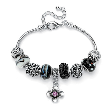 Black and Purple Crystal Silvertone Bali-Style Charm and Spacer Bracelet Adjustable 8 to 10