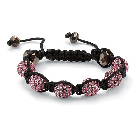 Round Pink Crystal Glass Accent Black Macrame Rope Multi-Crystal Ball Tranquility Bracelet 8