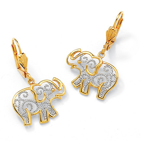 18k Yellow Gold-Plated Two-Tone Filigree Elephant Drop Earrings