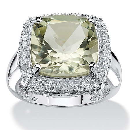 6.57 CT TW Green Amethyst and White Topaz Ring in Sterling Silver