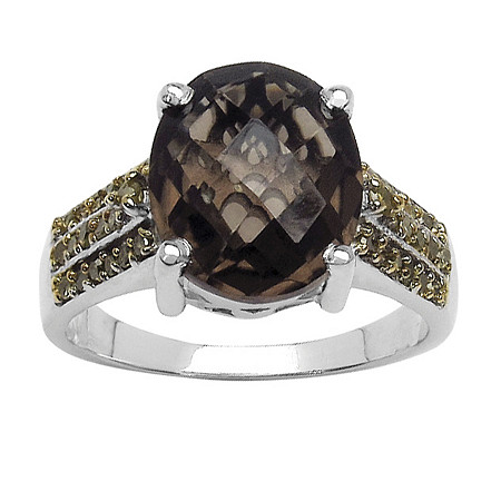 4.15 CT Smoky Quartz and 1/3 CT TW Yellow Diamond Ring in Sterling Silver