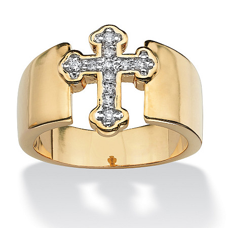 Round Cubic Zirconia Accent Cross Band in Yellow Gold Tone
