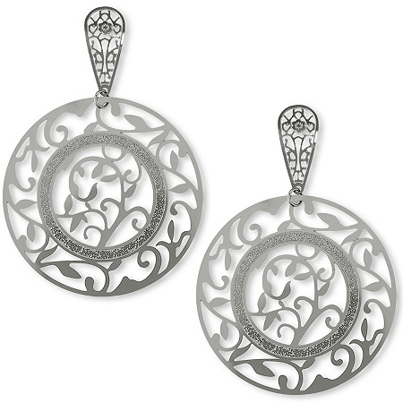 Openwork Leaf Drop Pierced Earrings in Stainless Steel