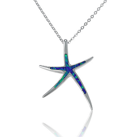 Blue Lab-Created Opal Starfish Pendant and Chain in Sterling Silver