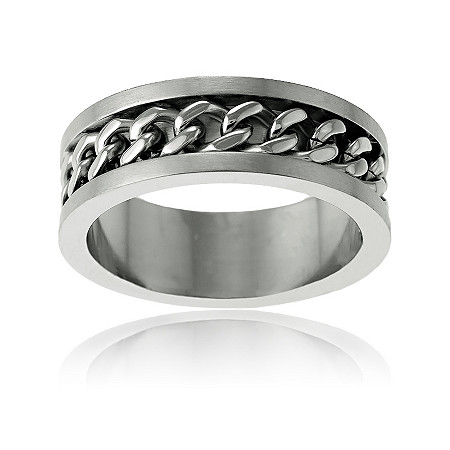 Men's Curb-Link Band Ring in Stainless Steel