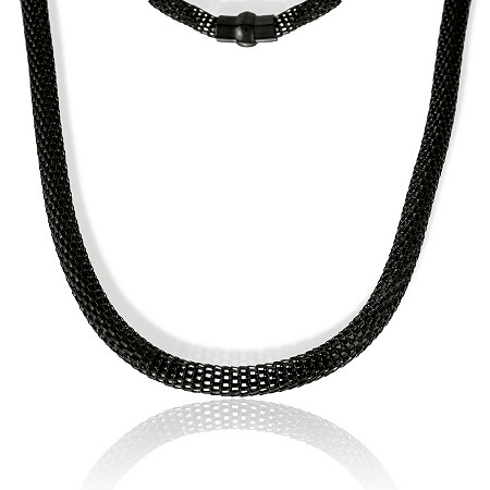 Mesh Necklace in Black IP Stainless Steel