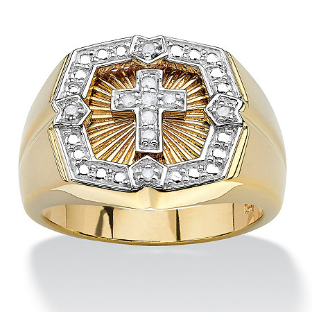 Men's .10 TCW Round Diamond 18k Yellow Gold Over Sterling Silver Cross Ring