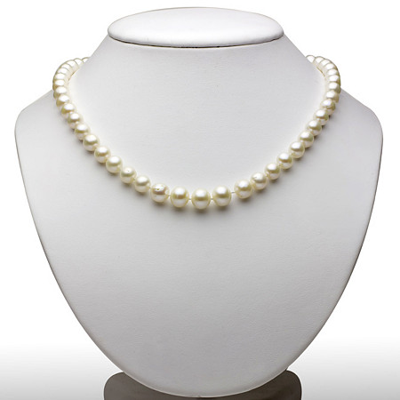 Cultured Freshwater Pearl Graduated Necklace in Sterling Silver