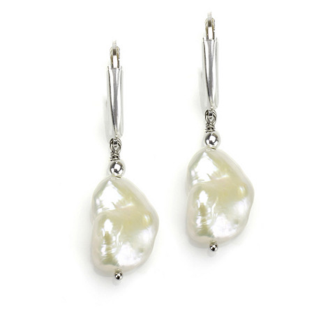 Cultured Freshwater Pearl Free-Form Drop Pierced Earrings in Sterling Silver