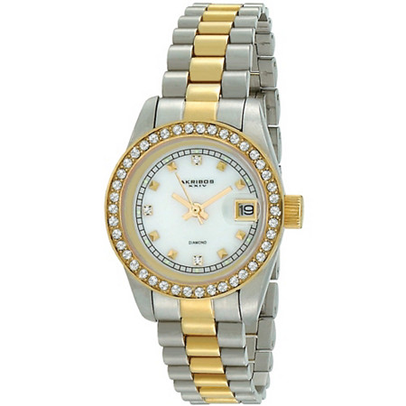 Akribos XXIV Diamond Accent and Crystal Bezel Bracelet-Watch in Tutone 14k Gold-Plated