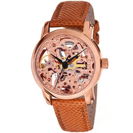 Akribos XXIV Skeleton Watch in 14k Rose Gold-Plated