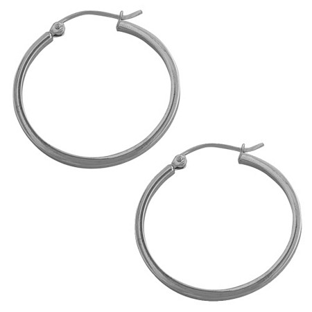 Hoop Pierced Earrings in 14k White Gold