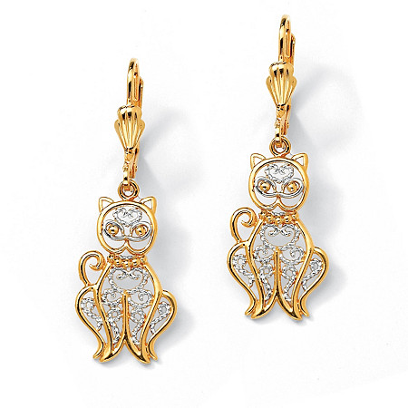 18k Gold-Plated Two-Tone Filigree Cat Drop Earrings
