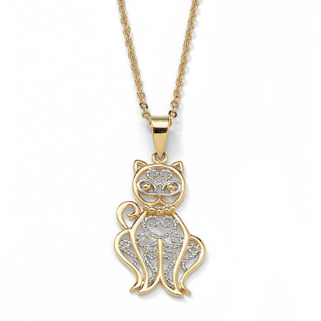 Filigree Cat Pendant and Chain in Tutone 18k Gold-Plated
