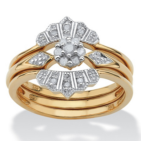.15 TCW Round Diamond 18k Yellow Gold Over Sterling Silver Bridal Engagement Crown Ring Set