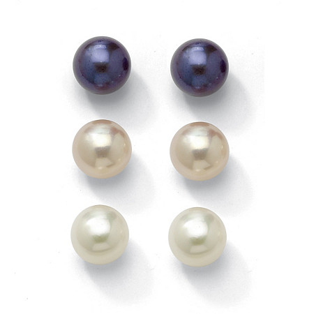 Set of Three Pairs of Cultured Freshwater Pearl Earrings in Sterling Silver 8 to 9 mm