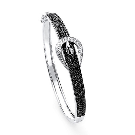 1/4 TCW Round-Cut Black Diamond Silvertone Bangle Bracelet 7 1/4