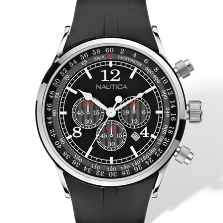Men's Nautica Chronograph Tachymeter Watch in Silvertone