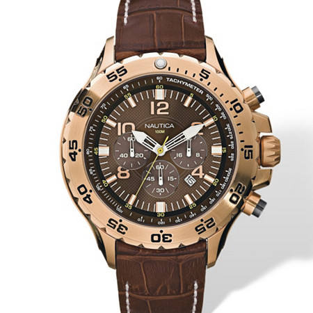 Men's Nautica Chronograph Watch with Brown Leather Strap in Yellow Gold Tone