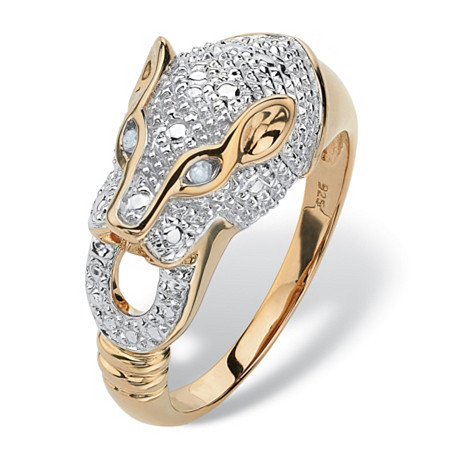 Round 18k Yellow Gold Over Sterling Silver Pave Diamond Accent Panther Ring