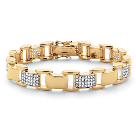 Men's 3.50 TCW Round Cubic Zirconia 14k Yellow Gold-Plated Bar-Link Bracelet 8 3/4