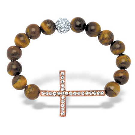 Round Genuine Tiger's Eye Crystal Accent Rose Gold-Plated Horizontal Cross Stretch Bracelet 8