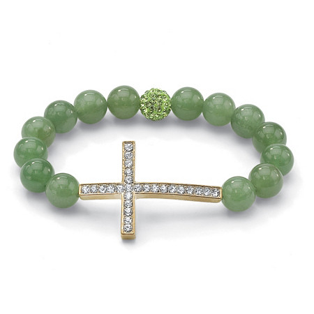 Green Jade and Crystal Horizontal Cross Stretch Bracelet in Yellow Gold Tone 8