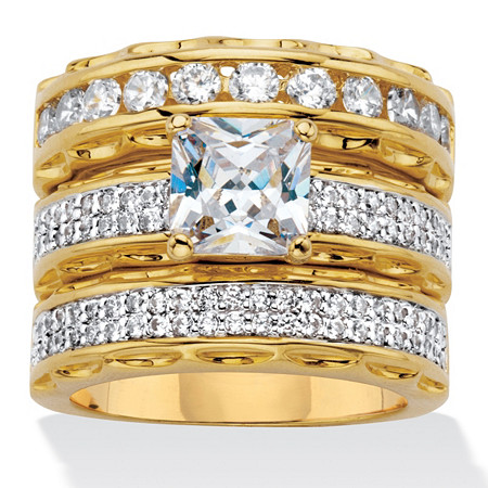 3.10 TCW Princess-Cut Cubic Zirconia 14k Gold-Plated Wedding Ring Set