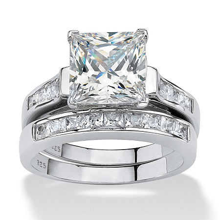 3.95 TCW Princess-Cut Cubic Zirconia Platinum Over Sterling Silver Bridal Engagement Set