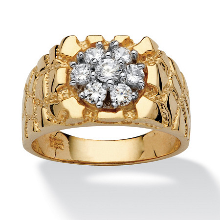 Men's .75 TCW Round Cubic Zirconia 18k Yellow Gold over Sterling Silver Nugget-Style Ring