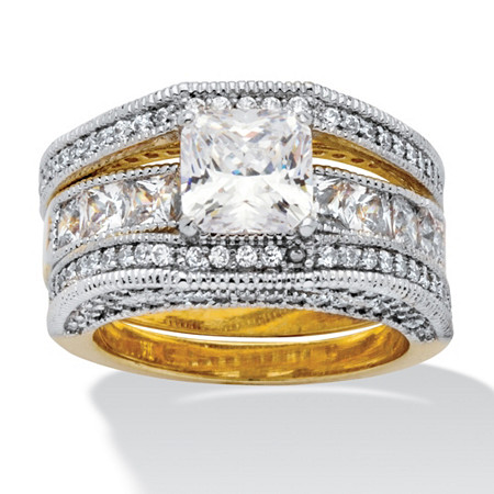 4.42 TCW Princess-Cut Cubic Zirconia 14k Yellow Gold-Plated Beaded Wedding Band Set
