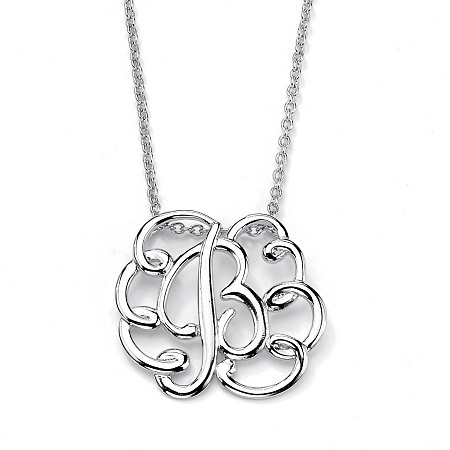 Sterling Silver Personalized Swirl Pendant and Chain 18