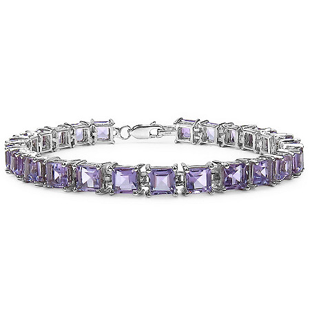15 CTW Princess-Cut Amethyst Tennis Bracelet in Sterling Silver