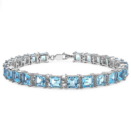 18.75 CTW Square-Cut Blue Topaz Tennis Bracelet in Sterling Silver