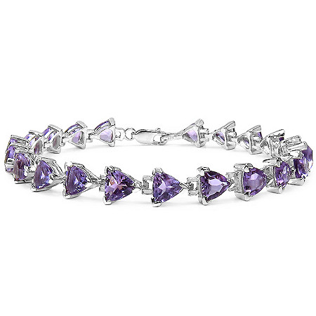 14.70 TCW Trilliant-Cut Amethyst Tennis Bracelet in Sterling Silver