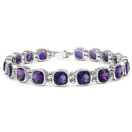 15.66 CTW Cushion Square-Cut Amethyst Tennis Bracelet in Sterling Silver