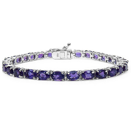 13.05 CTW Oval-Cut Amethyst Tennis Bracelet in Sterling Silver