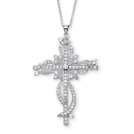 3.12 TCW Round Cubic Zirconia Cross Pendant Necklace in Silvertone 18