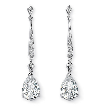 8.39 TCW Pear Cut Cubic Zirconia Silvertone Drop Earrings