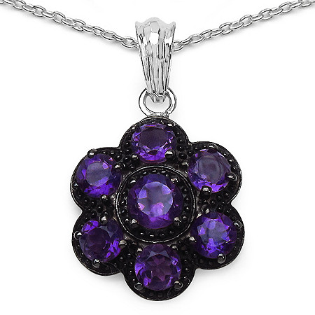 3.90 CT TW Amethyst Flower-Shaped Pendant in Sterling Silver