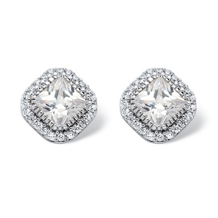 3.84 TCW Princess-Cut Cubic Zirconia Platinum over Sterling Silver Stud Halo Earrings