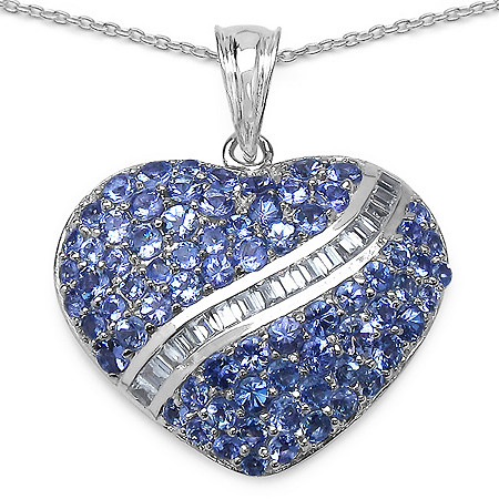 4.27 CT TW Tanzanite and Cubic Zirconia Heart Pendant in Sterling Silver