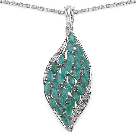 3.0 CT TW Emerald and Diamond Pendant in Sterling Silver